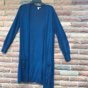 Linen blue long cardigan